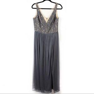 Davids Bridal Pewter Colored Maxi Dress Sleeveless